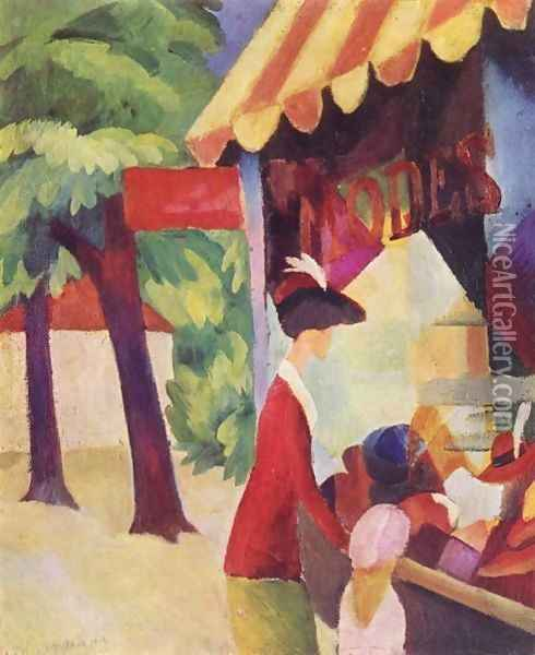 A Woman With Red Jacket And Child Before The Hat Store Oil Painting - August Macke