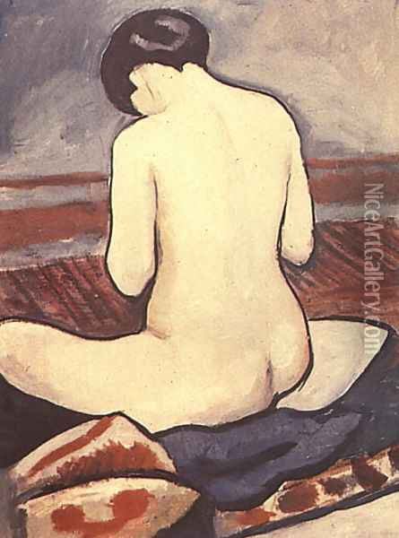 Sitting Nude with Cushions (Sitzender Akt mit Kissen) 1911 Oil Painting - August Macke