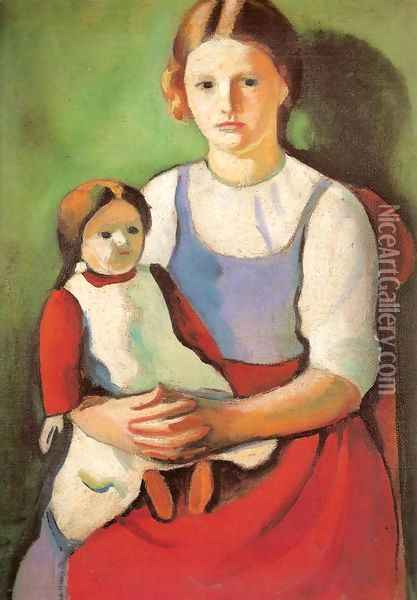 Blond Girl with Doll (Blondes Madchen mit Puppe) Oil Painting - August Macke