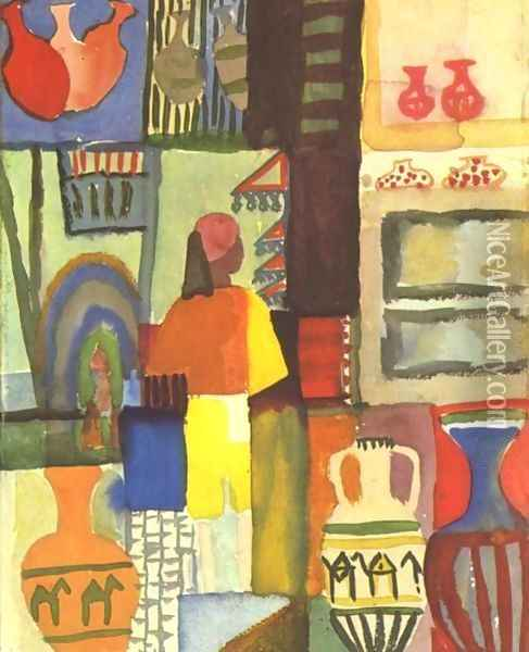 Dealer With Pitchers Oil Painting - August Macke