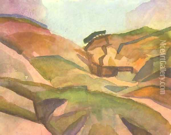 Landcape Oil Painting - August Macke