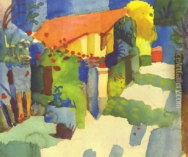 House In The Garden Oil Painting - August Macke