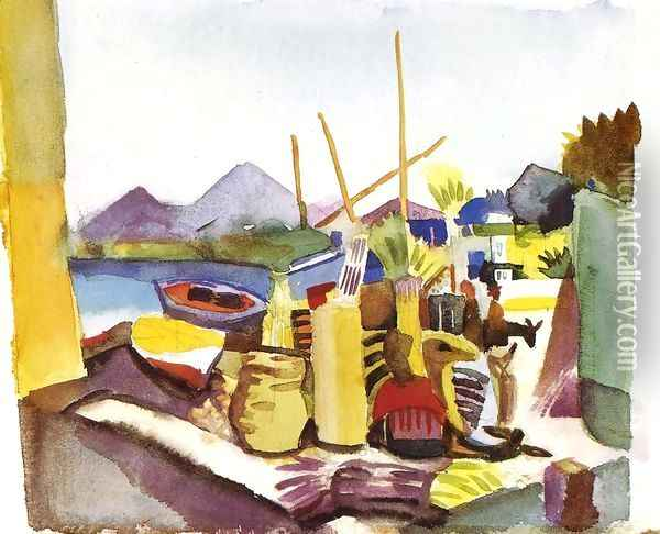 Landscape In Hammamet Oil Painting - August Macke