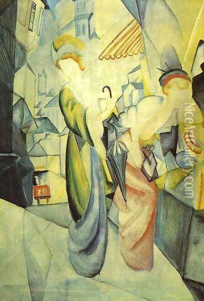 Bright Women in front of the Hat Shop (Helle Frauen vor dem Hutladen) 1913 Oil Painting - August Macke