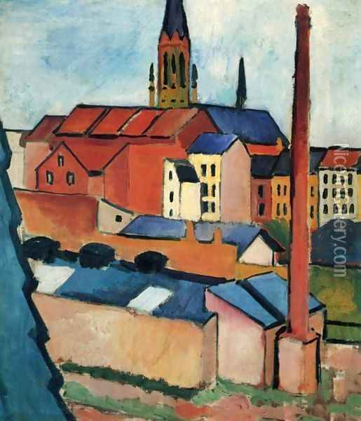 Houses With A Chimney Oil Painting - August Macke