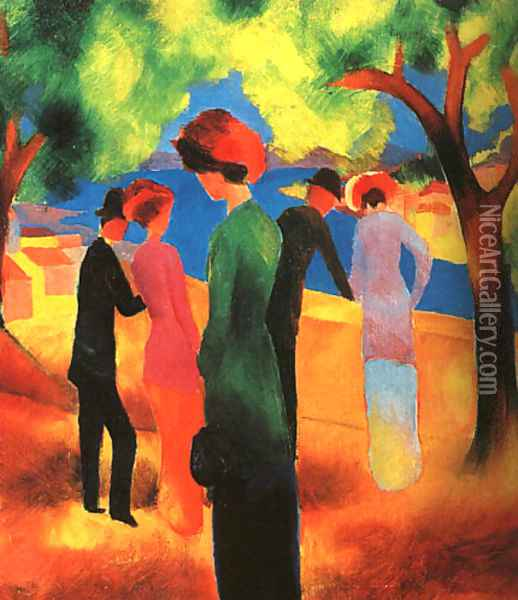 Woman in a Green Jacket 1913 Oil Painting - August Macke