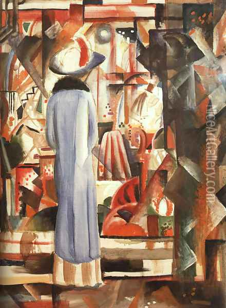 Large Bright Shop Window (Großes helles Schaufenster) 1912 Oil Painting - August Macke