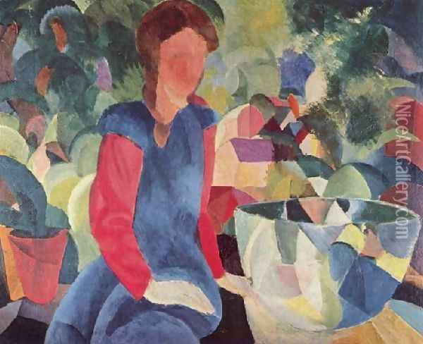 Girl With Fish Bell Oil Painting - August Macke
