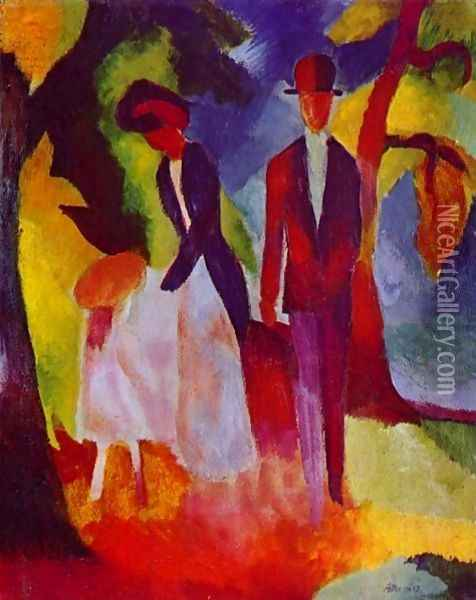 Family At The Blue Lake Oil Painting - August Macke