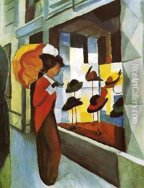 Hat Shop (Hutladen) 1914 Oil Painting - August Macke