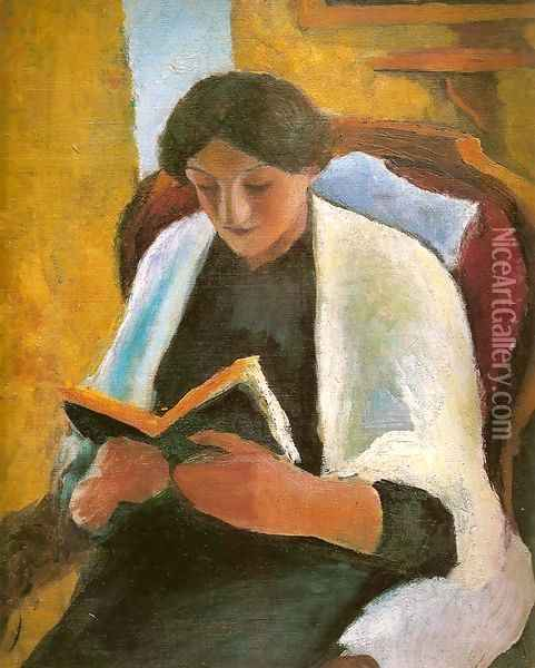 Woman Reading in Red Armchair (Lesende Frau im roten Sessel) Oil Painting - August Macke