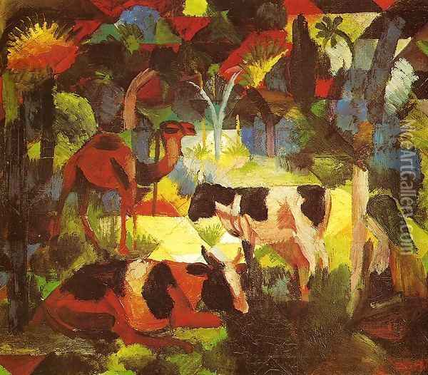Landscape With Cows And Camel Oil Painting - August Macke