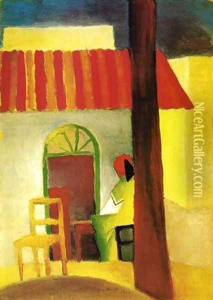 Turkish Cafe Oil Painting - August Macke