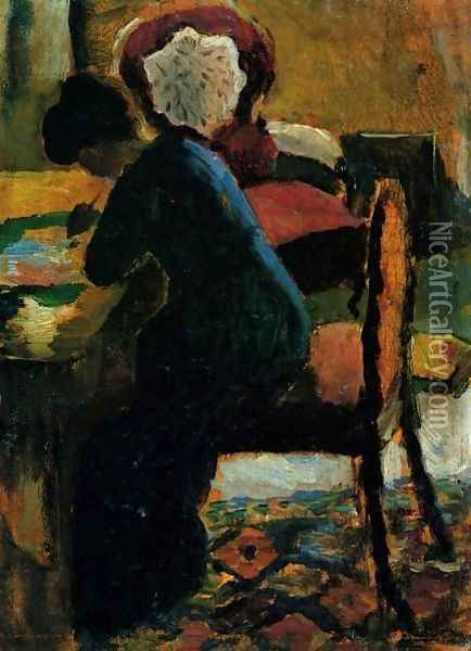 Elisabeth At The Desk Oil Painting - August Macke