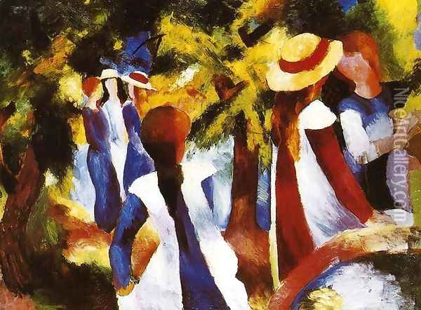 Girls In The Forest Oil Painting - August Macke