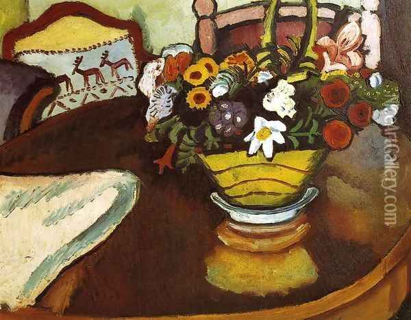 Still Life with Stag Cushion and Flowers Oil Painting - August Macke