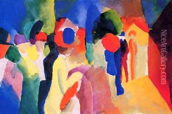 Girl With A Yellow Jacket Oil Painting - August Macke