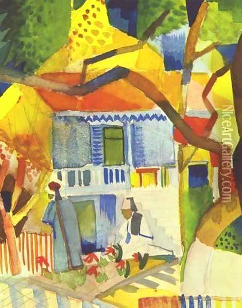Patio Of The Country House In St Germain Oil Painting - August Macke