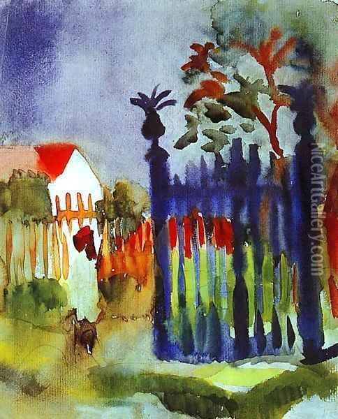Garden Gate Oil Painting - August Macke