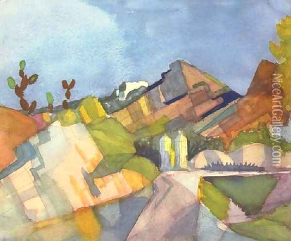 Rocky Landscape Oil Painting - August Macke