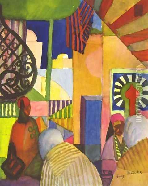 In The Bazar Oil Painting - August Macke