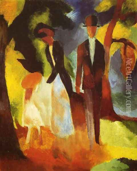 People by a Blue Lake (Leute am Blauen See) 1913 Oil Painting - August Macke