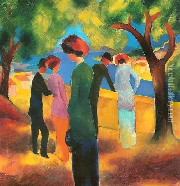 Lady in a Green Jacket Oil Painting - August Macke