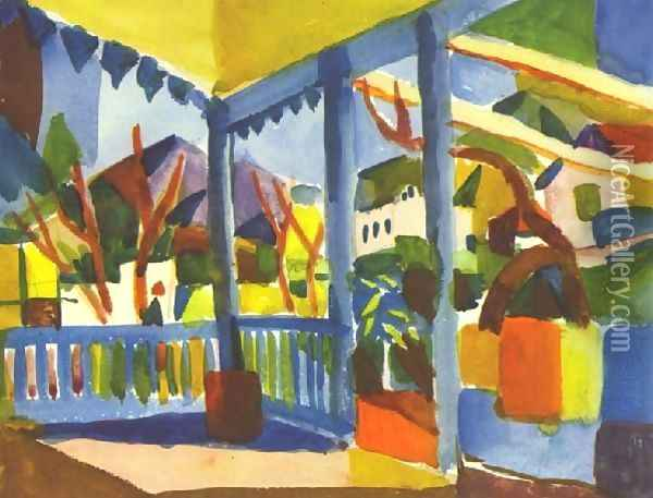 Terrace Of The Country House In St Germain Oil Painting - August Macke