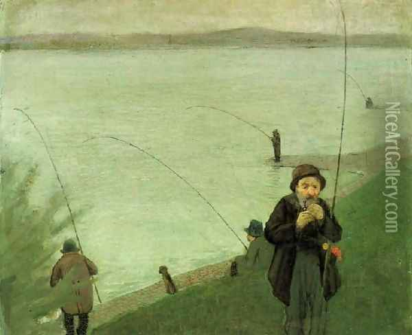 Fishing At The Rhine Oil Painting - August Macke