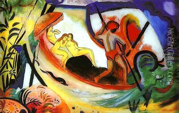 Three Girls in a Barque (Drei Madchen in einer Barke) 1911 Oil Painting - August Macke