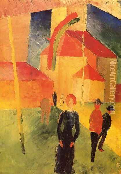 Church with Flags Oil Painting - August Macke