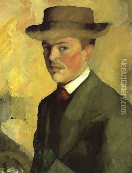Self Portrait 1909 Oil Painting - August Macke