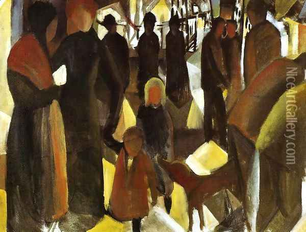 Leave-Taking (Abschied) 1914 Oil Painting - August Macke