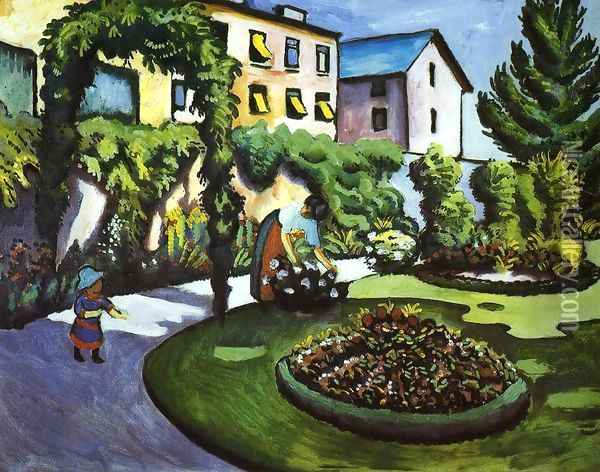 Garden Picture Oil Painting - August Macke