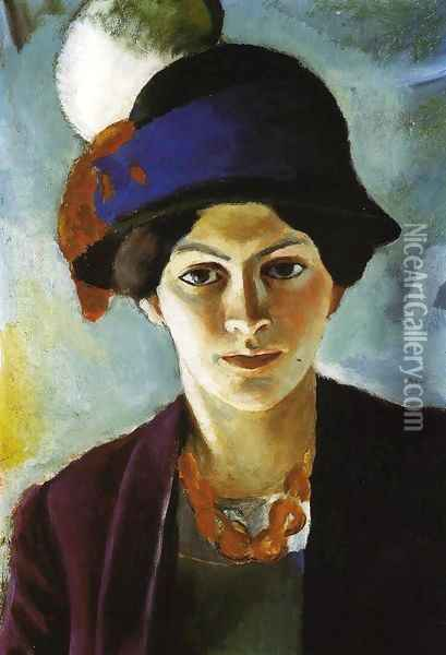 Portrait of the Artist's wife Elisabeth with a Hat (Frau des Kunstlers mit Hut) 1909 Oil Painting - August Macke