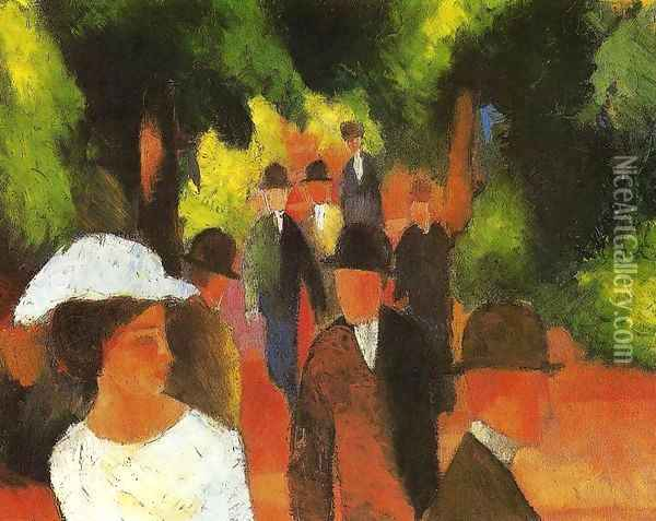 Promenade with Half-Length of Girl in White 1914 Oil Painting - August Macke