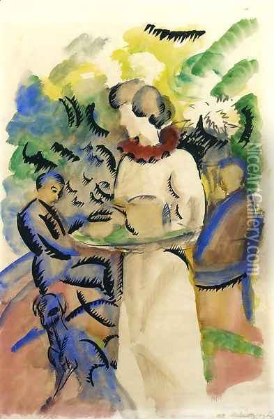 Afternoon in the Garden Oil Painting - August Macke