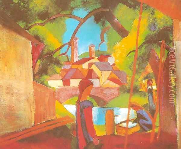Children at the Pump (Kinder am Brunnen) Oil Painting - August Macke