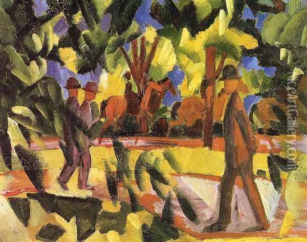 Riders and Strollers in the Avenue Oil Painting - August Macke