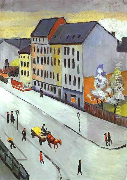 Our Street in Gray (Unsere Strasse in Grau) 1911 Oil Painting - August Macke