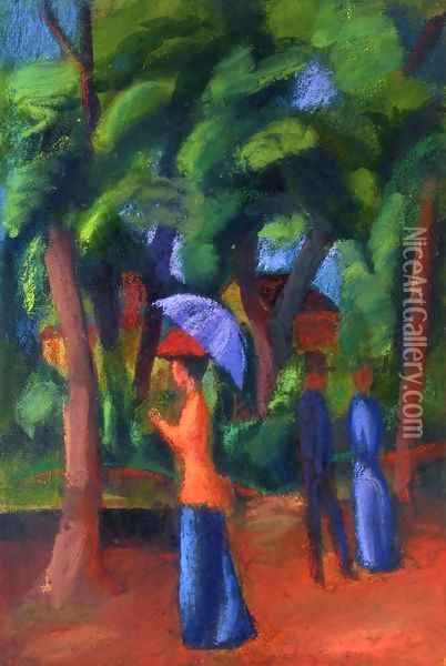 Walking in the Park Oil Painting - August Macke