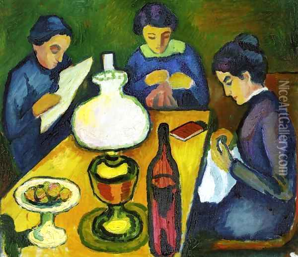 Three Women at the Table by the Lamp Oil Painting - August Macke