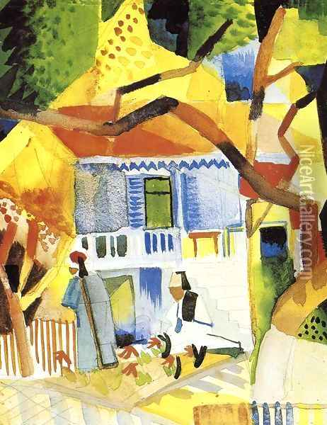 Courtyard of a Villa at St. Germain Oil Painting - August Macke