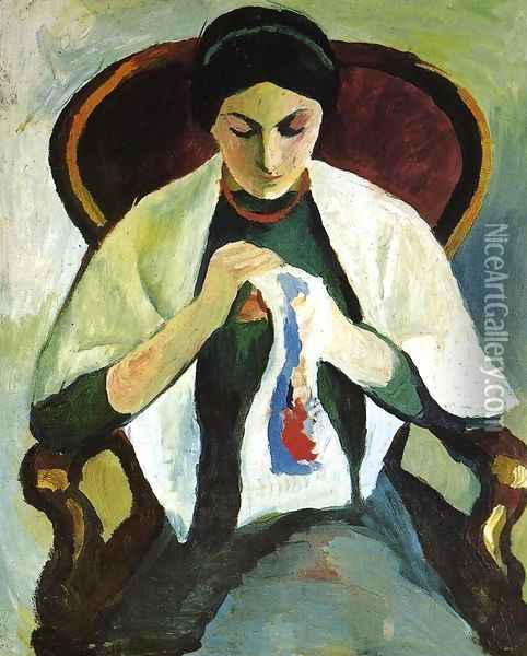 Woman Embroidering in an Armchair: Portrait of the Artist's Wife Oil Painting - August Macke