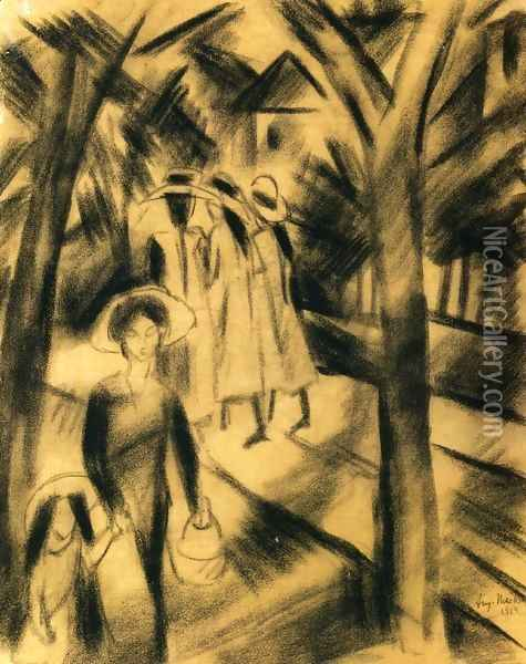 Woman with Child and Girls on a Road Oil Painting - August Macke