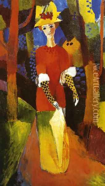Woman in Park Oil Painting - August Macke