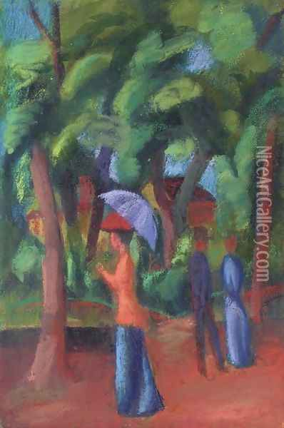 Spaziergang im Park Oil Painting - August Macke