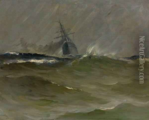 Voilier Sous Tempete Oil Painting - Frank Myers Boggs