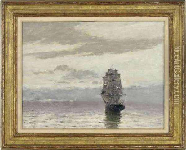 Square-rigger By Moonlight Oil Painting - Frank Myers Boggs