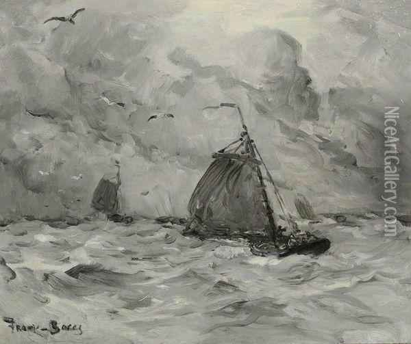 Barques De Peche Voiles Deployees Oil Painting - Frank Myers Boggs